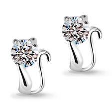 Girl's Cute Elegant 925 Sterling Silver Zircon Cat Ear Stud Earrings Jewelry