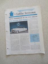 1952 Cadillac Preliminary Service information Cadillac Serviceman Bulletin