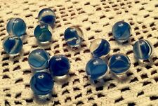 "Vintage Glass MARBLES - 13 pcs - BLUE -  CATS  EYE .600"" Swirls Ribbons Lot 2"