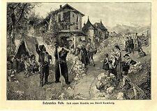 Der Künstler Adolf Humborg Fahrendes Volk Tanzbär Historischer Kunstdruck 1912