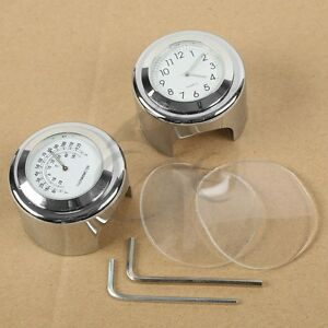 "1"" 7/8"" Handlebar Chrome White Dial Clock Temp Thermometer Fit Honda CB VTX VT"