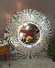 Glace / miroir soleil en bois sculpté argenté Diamètre 120 cm