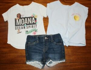 Set of 2 Cat & Jack, Disney Moana Girl's Shirt and Shorts  / Size 18 Mos, 12 Mos