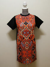 ASOS DRESS TRIBAL PRINT SHIFT DRESS, Sz 10 (#806)