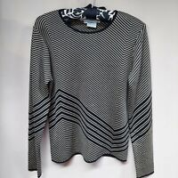 Carlisle Womens Silk Crew Neck Black Gray Diagonal Stripe Knit Sweater Sz Medium