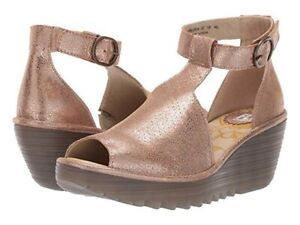 FLY London Perforated Leather Ankle Strap Wedge Sandal Yehi Luna Eur 36 US 5.5