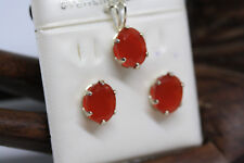 New 925 Sterling Silver Genuine 5 Ctw Genuine Oval Red Onyx Set Pendant Earrings
