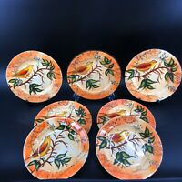 Vintage Pier 1 Import 7 Salad Plate Set Bird Branch Stamp Hand Painted Dolomite