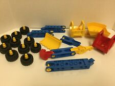 Lot of 19 Lego Duplo Toolo Wheels Tires Bucket Building Constriction