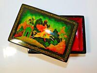 "Vintage Russian Black Lacquer Trinket Box Fairytale ""Koschey's Castle"""