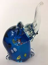 Millefiori Elephant Art Glass Sculpture Paperweight 6 1/2""