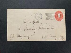 1902 SS ALLEGHANY HAMBURG AMERICAN LINE SHIP SUNK 1912 ! NY MACHINE CANCEL PSE !