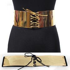 Hot Women Fashion Wide Gold Metal Bling Mirror Bow Tie Plate Waist Belt Obi S~XL