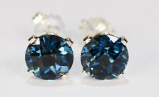 BEENJEWELED GENUINE NATURAL MINED LONDON BLUE TOPAZ EARRINGS~STERLING SILVER~7MM