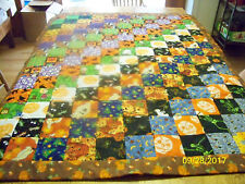 Homemade Halloween Quilt Dark Brown Backing w/Candy & Pumpkin Binding52in x 41in