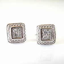 Sterling Silver .10 Cttw Genuine Diamond Square Shaped Stud Earrings Post