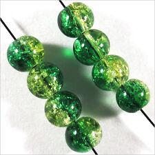 Lot de 50 Perles Craquelées en Verre 6mm Vert Jaune