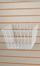 "New Retails White Wire Slatwall Baskets 12""L x 12""W x 8""D"