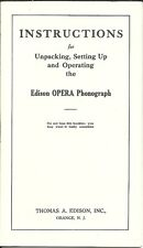 Vintage Edison Opera Phonograph Operating Instruction Booklet 12-11-1911 REPRINT