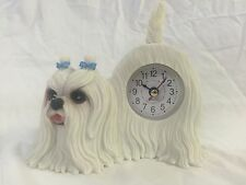 4th of JULY SALE Critter Clock Maltese Tabletop Wagging Tail Puppy Dog