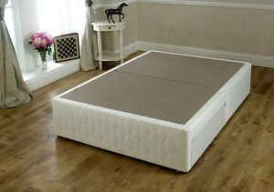 Double 4ft6 Damask Divan Bed Base- WHITE FABRIC -Storage Options Available