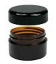 40x 20g Amber Plastic Lip Balm Small Sample Cosmetic Jars Container + Black Cap