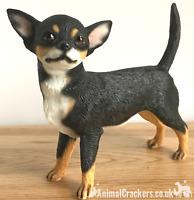 Chihuahua Black and Tan ornament figurine quality lifelike Leonardo. Gift boxed.