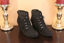 Fergalicious Women's Clarissa Bootie, Black/Micro Suede, 7.5 M US