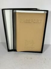 Pippo Italia Luxury Leather Passport Wallet Cover Folio Light Brown Tan NIB