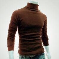 Men's Winter Warm Cotton High Neck Pullover Jumper Knit Sweater Tops Turtleneck