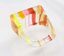 Vintage Lucite or Acrylic Striped Rainbow Rectangle Statement Ring size 8.75