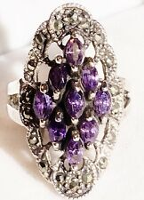 LONG LARGE 1.5CT MARCASITE AMETHYST MARQUISE CLUSTER RING STERLING SILVER SIZE 7
