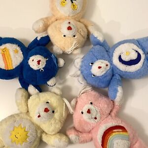 """5 Vintage Hand Made Care Bears • 16"""" Plush Stuffed Animals Butterick Bedtime"""