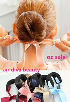 NEW Girl Women school ribbon bow Dance Bun Ball stick ponytail holder hair band