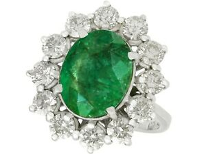 Vintage 4.82ct Emerald and 3.12ct Diamond 18k White Gold Cluster Ring