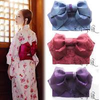 Women Japanese Kimono Yukata Styled Jacquard Bow Tie Hanhaba Obi Belt Colors