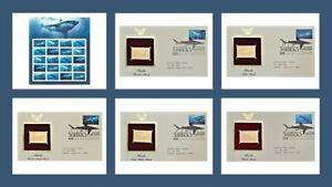 2017 Sharks Sheet & 5 Golden Replicas 1st Day Issue Stamps MNH Scott #5227a