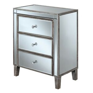 Convenience Concepts Gold Coast 3 Drawer End Table, White/Mirror - 413859WW
