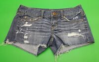 MS&Co American Eagle Blue Denim Distressed Cut Frayed Women's Jean Shorts Size 2