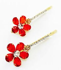 USA Bobby Pin using Swarovski Crystal Hair Clip Bridal Wedding Flower Red