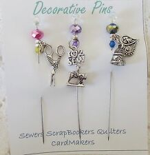 Decorative Pins  - I Love 2 Sew - Sewing Quilters Pin Cushion Thimble Scissors