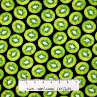 Kiwi Fabric - Fresh Squeezed Green Fruit Slices - Benartex Kanvas YARD