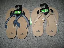 SANUK Men's Leather/Suede Flip Flops, Beige or Blue, MANY SIZES, MSRP-$35.99
