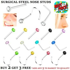 SILVER NOSE STUD STRAIGHT L SCREW SHAPE SURGICAL STEEL PIN BAR SET GOLD PIERCING
