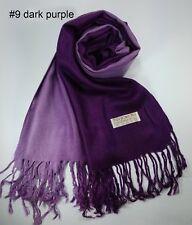 New Scarf Women Dark Deep Purple Lady Winter Solid Pure Color Wrap Shawl Tassel