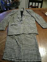 Vintage Ann Taylor Silk 2 Piece Skirt Suit Houndstooth Size 2 (cb36)