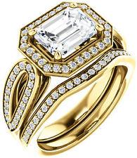 1.84 ct Emerald & round Cut Diamond Halo Engagement Wedding Ring 14k Yellow Gold