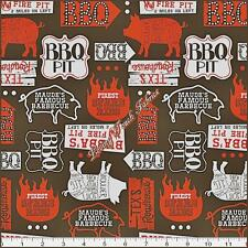 """RIBS & BIBS"" BLEND FABRICS / ASBURY BARBEQUE PIG COTTON FABRIC PRICED @ 1/2 YD"