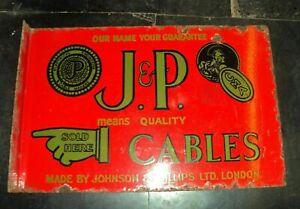 VINTAGE PORCELAIN ENAMEL SIGN J.P. JOHNSON AND PHILLIPS LTD CABLES LONDON FLANGE