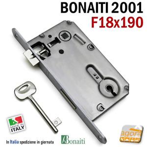 SERRATURA PORTA PATENT FRONTALE 18x190mm BONAITI 2001 240 CROMO OPACO E50 INT90